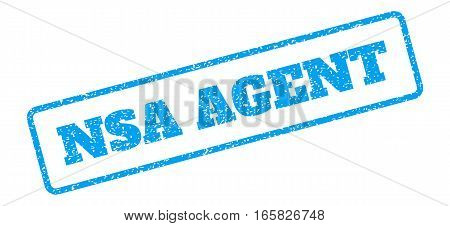 Blue rubber seal stamp with NSA Agent text. Vector tag inside rounded rectangular shape. Grunge design and dirty texture for watermark labels. Inclined blue sticker on a white background.