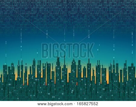 The City Online. Abstract Futuristic Digital City, Cloud Connected, High-tech Background