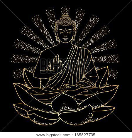 Sitting outline Gold Buddha on Lotus with beam of light isolated on black background. Sign for tattoo, textile print, mascots and amulets.