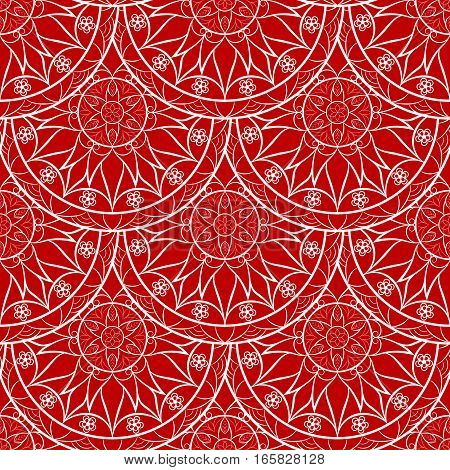 Seamless Red Floral Mandala Pattern. Seamless pattern for your designs, invitation card, meditation, astrology and other wrapped projects. Fabric Mandala Pattern.
