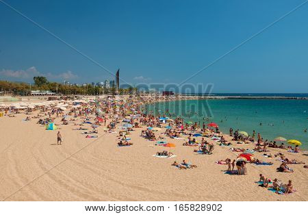 Nova Icaria Beach in the center of Barcelona, is primarily intended for families. Spain, Barcelona. August 18, 2013