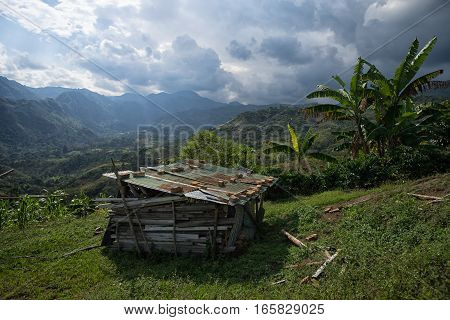 small farm shack in the Tierradentro area of Colombia