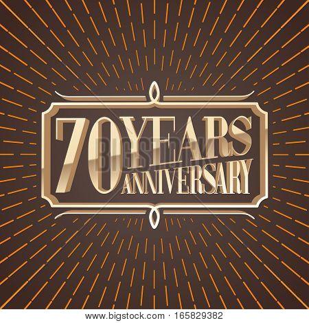 70 years anniversary vector illustration banner icon symbol sign logo invitation. Graphic design element for 70th anniversary birthday card decoration