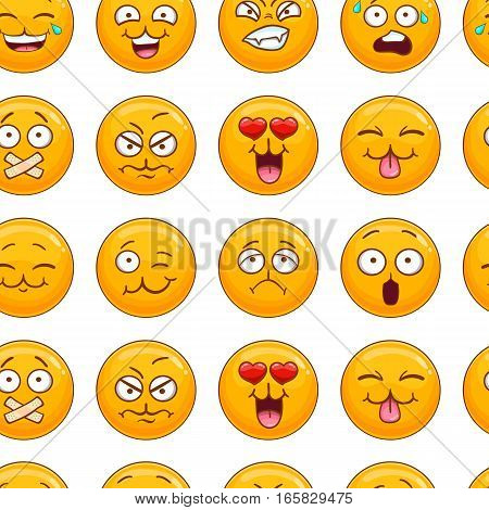 Seamless pattern with smiley face. Emotion illustration