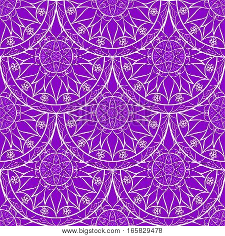 Seamless Violet Color Floral Mandala Pattern. Seamless pattern for your designs, invitation card, meditation, astrology, fabric and other wrapped projects.