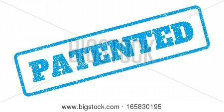 Blue rubber seal stamp with Patented text. Vector message inside rounded rectangular shape. Grunge design and scratched texture for watermark labels. Inclined blue sticker on a white background.
