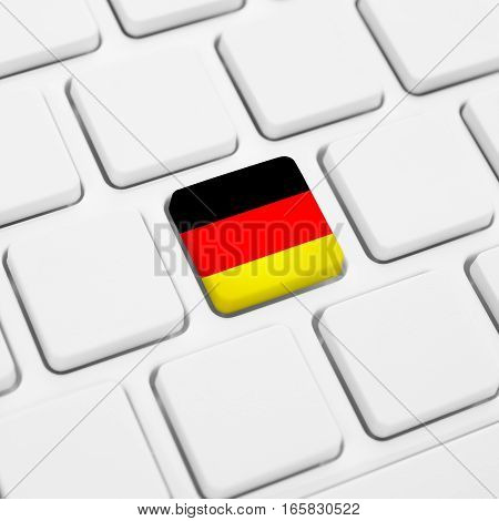 German Language Or Germany Web Concept. National Flag Button Or Key On Keyboard