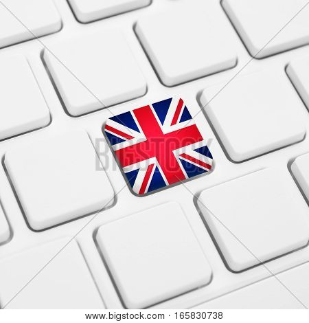 English Language Or Uk Web Concept. United Kingdom Flag Button Or Key On Keyboard