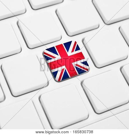 English Language Or Uk Web Concept. United Kingdom Flag Button Or Key On Keyboard
