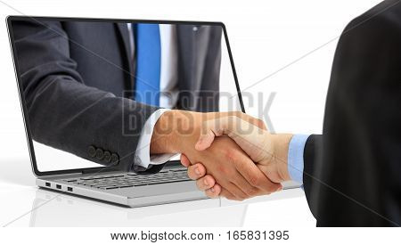 3D Rendering Men Shaking Hands Through A Laptop Screen