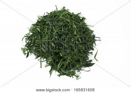 Kaffir Lime Leaf or Bergamot Leaf Sliced on white background. Often used as food ingredients.