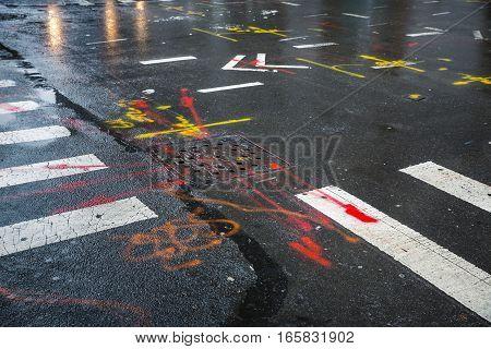 Asphalt In Manhattan, New York City