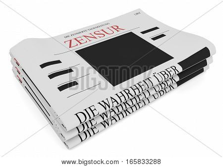 Censorship In Germany Concept: Pile of Newspapers 3d illustration on white background