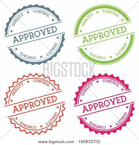Approved Quality Control Badge Isolated On White Background. Flat Style Round Label With Text. Circu