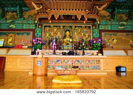 January 12, 2017 in Tehachapi, CA:  Inside a Buddhist Temple where there is an altar with a Buddha Statue and spiritual decorations at Tae Go Sah Korean Zen Monastery where visitors can meditate 7 days a week and attend Sunday services in Tehachapi, CA