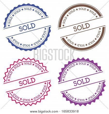 Sold Badge Isolated On White Background. Flat Style Round Label With Text. Circular Emblem Vector Il