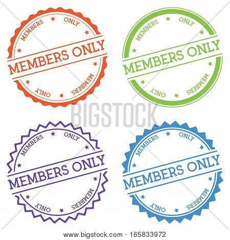 Members Only Badge Isolated On White Background. Flat Style Round Label With Text. Circular Emblem V
