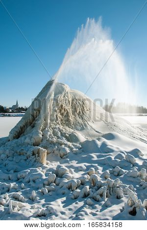 The sugar factory in Litovel, Czech Republic, discharges waste water into sludge fields and frost in winter created this geyser