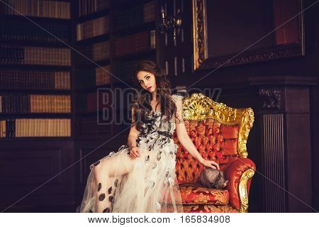beauty young brunette woman in luxury home interior little cat near model