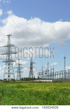 The power transmission line on the field