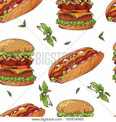Fast food pattern. Hand draw retro illustration. Vintage design.