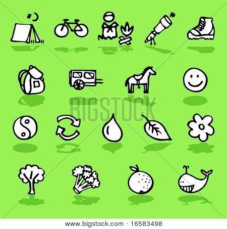 nature,camping,green icons set - illustrations - icons set -