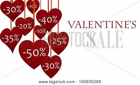 Valentine's sale side decoration with hanging hearts on white background.