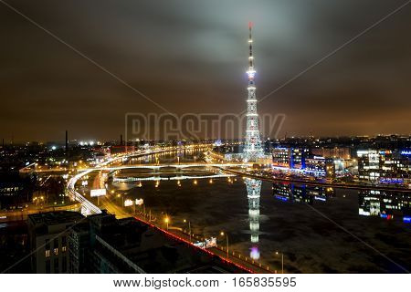 Saint-Petersburg .Russia.December 31 2016.The view from the height on the Neva river and television tower in the evening illuminations in St. Petersburg.