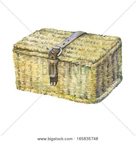 Closed suitcase with leather strap, wattled from reeds, dry water hyacinth. Hand drawn watercolor painting on white background