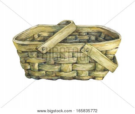 Basket wattled from wood. Hand drawn watercolor painting on white background.