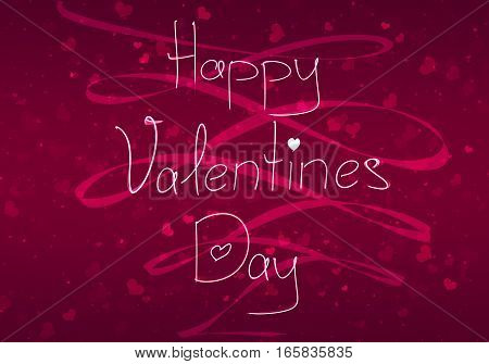 Happy Valentine's Day Vintage Hand Drawing Background With Glitter Hearts And Ribbon