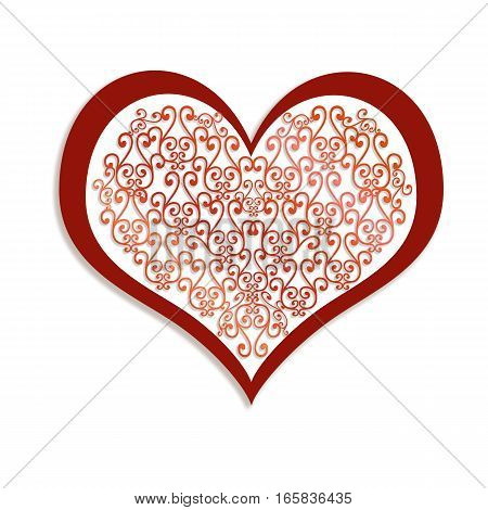 Red lace heart on white background - romantic symbol of love. Illustration to Valentine's day