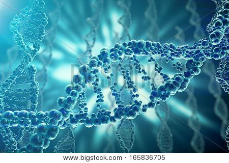 Concept of biochemistry with dna structure on blue background. 3d rendering Medicine concept