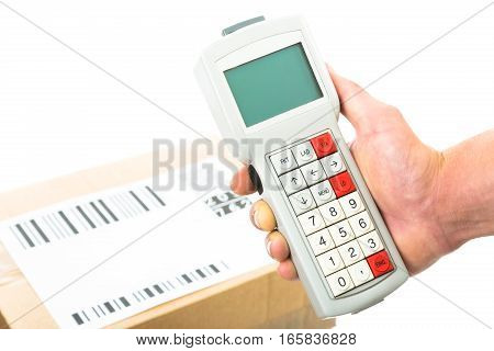 caucasian man is scanning the barcodes on a parcel. all barcodes are generated by myself and contain no useful data.