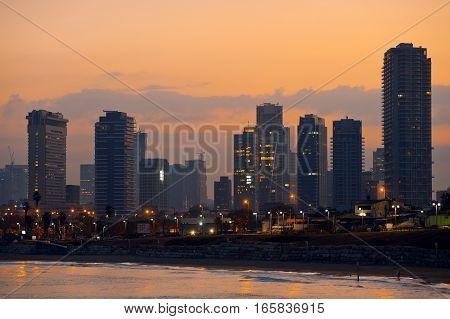 TEL AVIV, ISRAEL - OCTOBER 9, 2016 Tel Aviv city at sunrise. Morning dusk.