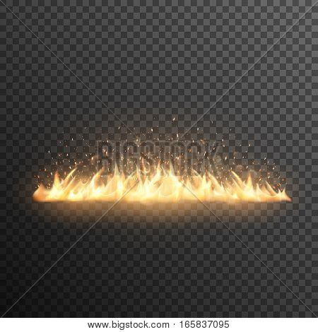 Realistic burning fire flames vector effect with transparency for design. Trail of fire. Fiery sparks. Glowing particles.