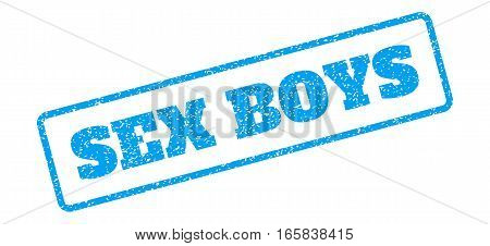 Blue rubber seal stamp with Sex Boys text. Vector tag inside rounded rectangular banner. Grunge design and scratched texture for watermark labels. Inclined blue sticker on a white background.