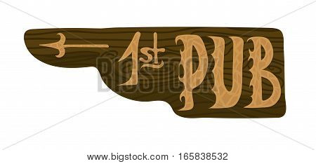 Hanging old wooden pointer to the best pub. Vector object isolated on white