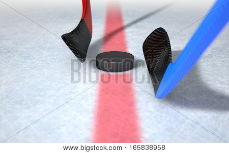 Ice Hockey Sticks And Puck
