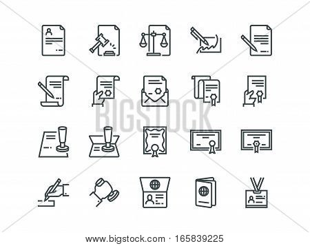 Legal Documents. Set of outline vector icons on a white background