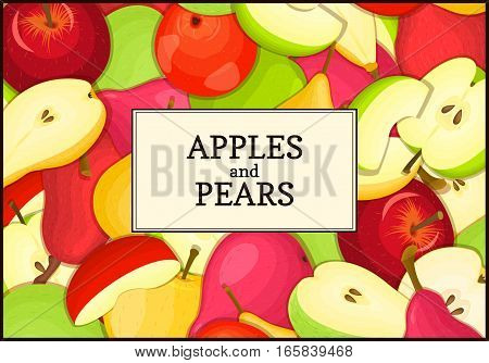 The rectangular frame on ripe apple pear fruit background. Vector card illustration. Delicious fresh and juicy apples pears peeled, piece of half, slice, seed. appetizing looking for packaging design
