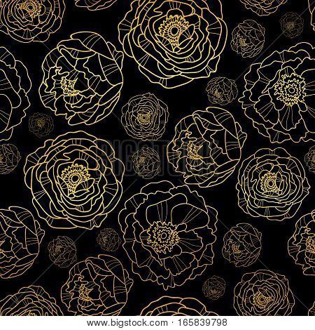 Vector Golden On Black Peony Flowers Summer Seamless Pattern Background. Great for elegant gold texture fabric, cards, wedding invitations, wallpaper. Surface pattern design.