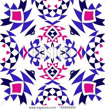 Ethnic seamless pattern with triangle and abstract geometric ornament. Tribal background texture. Vector illustration hipster background. Colorful aztec print