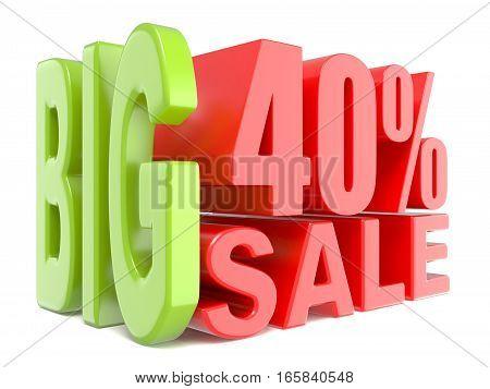 Big Sale And Percent 40% 3D Words Sign