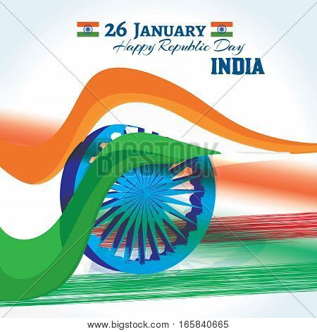 Indian Republic day banner and greetings with stylish abstract geometric tricolor design