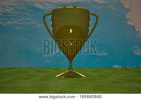 Golden Cup Under Blue Sky