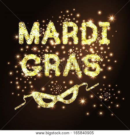 Mardi Gras or Shrove Tuesday with golden glitter carnival mask on black background. Vector Illustration.