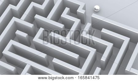 3D Rendered Illustration of a maze with a single chrome ball at entry.