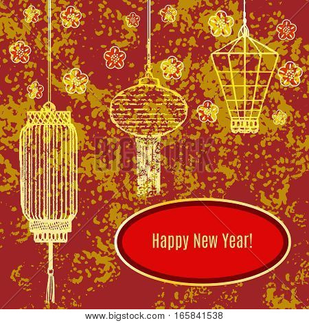 ector greeting textured card with chinese traditional lanterns