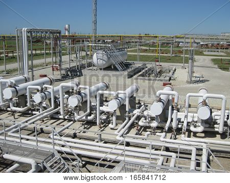 Heat Exchangers At Oil Refinery.